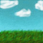 【フリーアイコン】空と雲と芝生