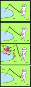 四コマ「釣り」