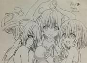 三姉妹さん描きやしたぜぇぃww( ・´ー・`)