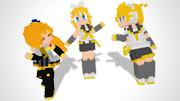 黄色い方々のドット絵風モデル