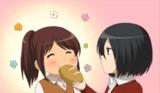 【GIFアニメ】ミカサがサシャにパンを与えてるだけ