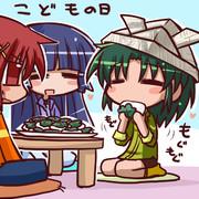 柏餅を食べるなおちゃん