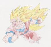 【描いてみた】超サイヤ人3 悟空【色えんぴつ】