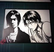 切り絵「高尾さんと鈴木さん」