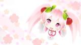 アイフォン用桜ミク壁紙を描いてみた