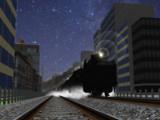 星空の下の重連貨物列車