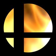 炎の背景でスマブラマークっぽいの