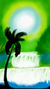 スマホでお絵描き「緑と水」