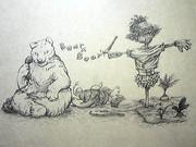 クマとカカシと電話と畑と