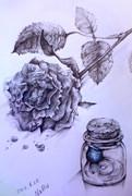 小瓶とバラ