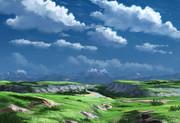 フリー素材――どっかの高原の風景