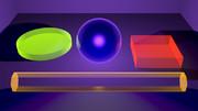 ブラックライトボールと色々な蛍光色オブジェクト