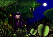 月夜の森で