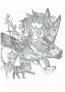 【パズドラ】ケモナーがシャーペンでレポート用紙の裏に描いたフレイヤ