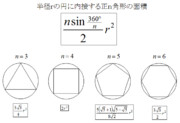 半径rの円に内接する正n角形の面積