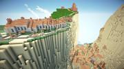 Minecraft ラピュタ崖の町 製作中です^^
