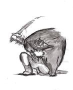 風の谷のナウシカ 「ユパ様」 墨で描いた。