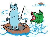 よくわからん生き物が魚を釣ります