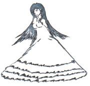 ドレス姿の貞子さん