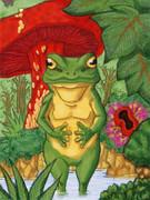 水たまりの蛙