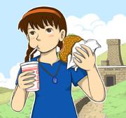 ハンバーガーを食べるシータちゃん 修正版