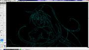 CAD絵4 ガハラさん 上UP 【円弧が描ければ何でも描ける】