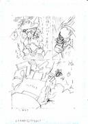 描いているマンガの途中(下書き)