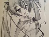 アリアをスケッチブックに描いてみた。