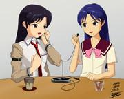 アケ千早さんとSP千早さんが今度の千早さんの新曲を聴いているようです