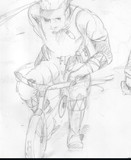 子供用自転車を移動手段に使うスネーク