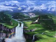 山紫水明、大瀑布を望む高原