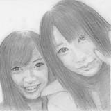武藤十夢ちゃんと佐々木優佳里ちゃんを点描で描いてみる 下絵Ver.