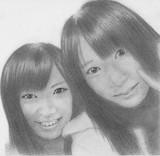 武藤十夢ちゃんと佐々木優佳里ちゃんを鉛筆画で描いてみた