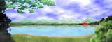 【背景素材】霧の湖