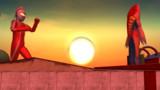 夕陽に立つ宇宙人