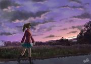 秋の夕暮れの散歩