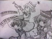 プリズムリバー三姉妹を描いてみた。影Ver