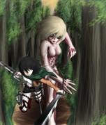 女型の巨人とミカサ