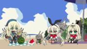 スイカ割りを楽しむ艦娘達+GIFアニメ