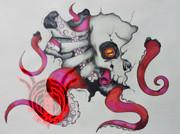 スカルオクトパス 胸部用タトゥーデザイン