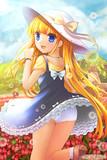 チューリップ畑の少女