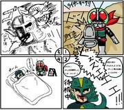 4コマ仮面ライダー ガニコウモルの不幸