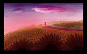 夕暮れ、太陽の畑にて