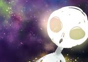 宇宙を眺める発光宇宙人くん