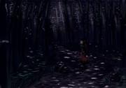 竹林の木漏れ月