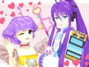 歌う紫髪さんツーショット