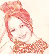 佐々木希さんを描いてみた。色鉛筆2色