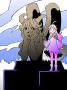 カラス魔女とガーゴイル像