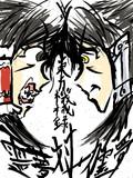 [東方機械録]霊夢対メカ霊夢 筆ペンイラスト