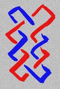 罫線だけで書いた組合角の家紋 / 前衛書(前衛書道、墨象)